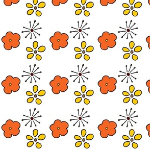 Pink yellow and orange flowers
