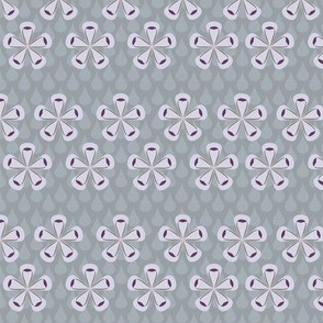 Rain Drops & Flowers Grey Fabric