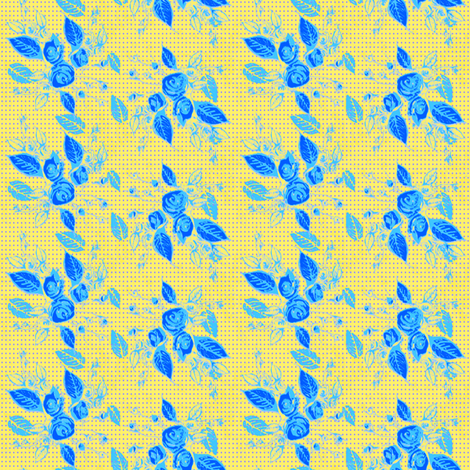 Roses blue leaves and yellow background-ch fabric by joanmclemore on Spoonflower - custom fabric