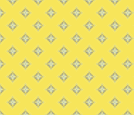 Deco Diamonds yellow and gray fabric by joanmclemore on Spoonflower - custom fabric