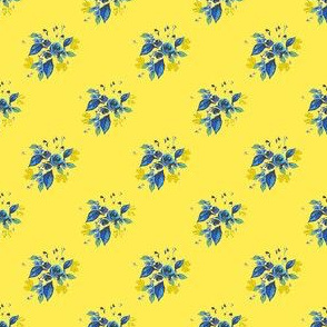 Roses in Blue with yellow background