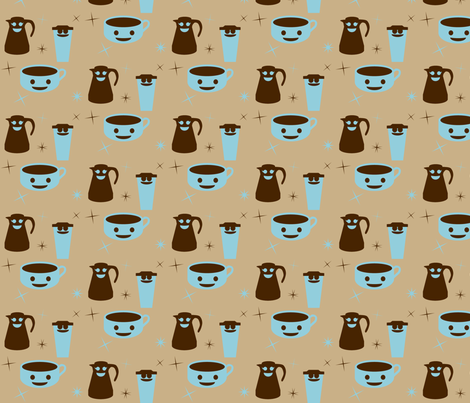 Retro Happy Coffee fabric by ninjaauntsdesigns on Spoonflower - custom fabric
