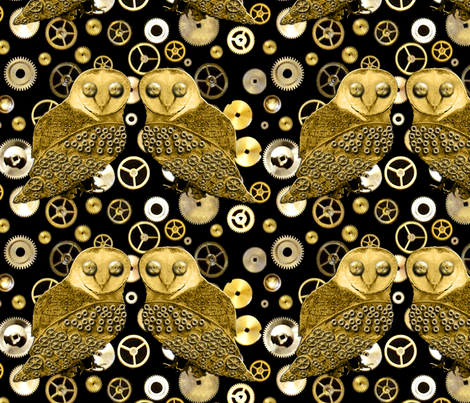 Robo Owls and Gears fabric by nezumiworld on Spoonflower - custom fabric