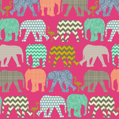 small baby elephants and flamingos pink