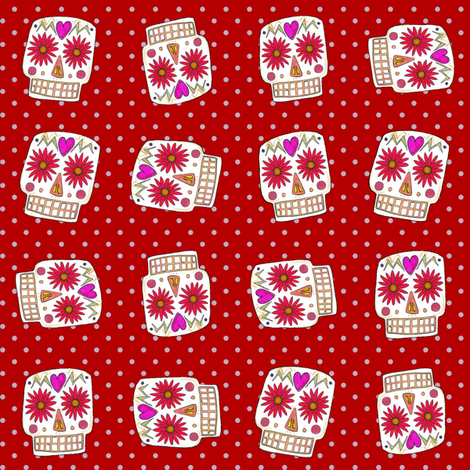 red polka skull dot fabric by scrummy on Spoonflower - custom fabric