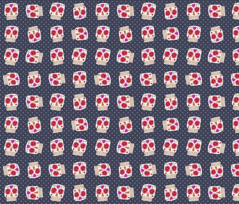 indigo polka skull dot fabric by scrummy on Spoonflower - custom fabric