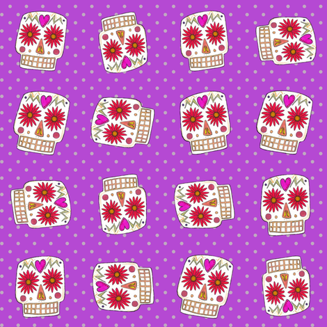plum polka skull dot fabric by scrummy on Spoonflower - custom fabric