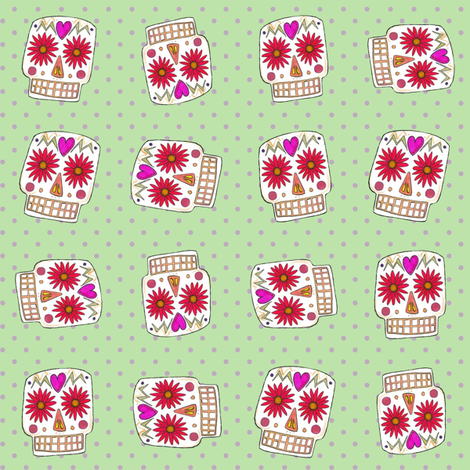 green polka skull dot fabric by scrummy on Spoonflower - custom fabric