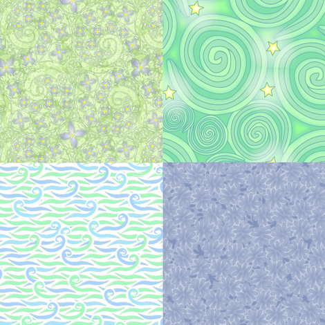 ©2011 4xFQ bluegreens fabric by glimmericks on Spoonflower - custom fabric