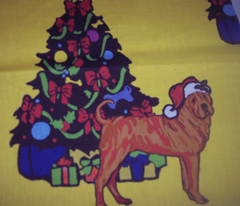 Sharpei with Christmas Tree
