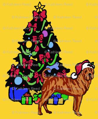 Sharpei with Christmas Tree
