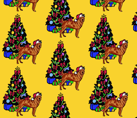 Sharpei with Christmas Tree fabric by dogdaze_ on Spoonflower - custom fabric