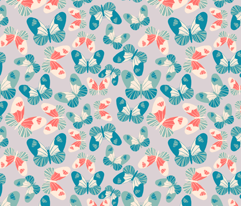 butterfly accumulation modern retro fabric by babysisterrae on Spoonflower - custom fabric