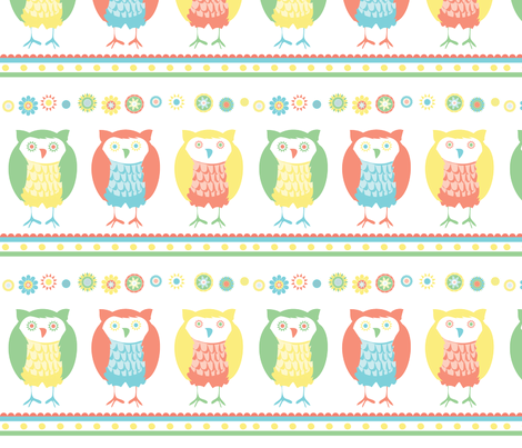 chocolate_flower_owls fabric by wendyg on Spoonflower - custom fabric
