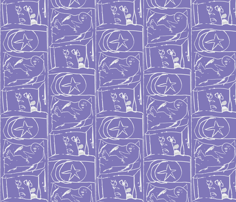 Southern Gothic Cat Napping by the Light of the Moon and the North Star fabric by susaninparis on Spoonflower - custom fabric