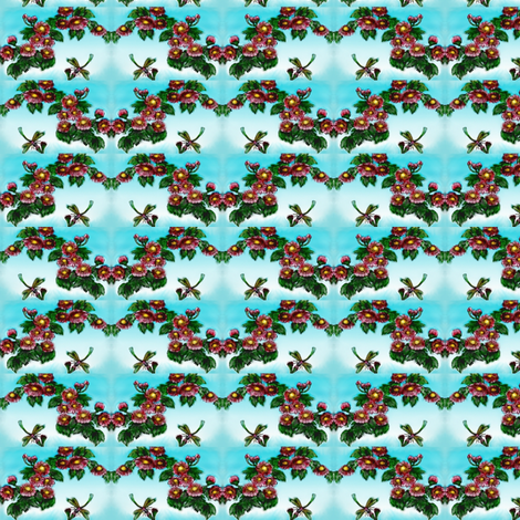 Dragonflies and heart garland of flowers fabric by vinkeli on Spoonflower - custom fabric