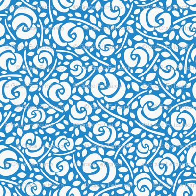 Cut Flowers, White on Blue