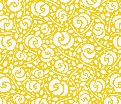 Cut Flowers, White on Yellow fabric by gracedesign on Spoonflower - custom fabric