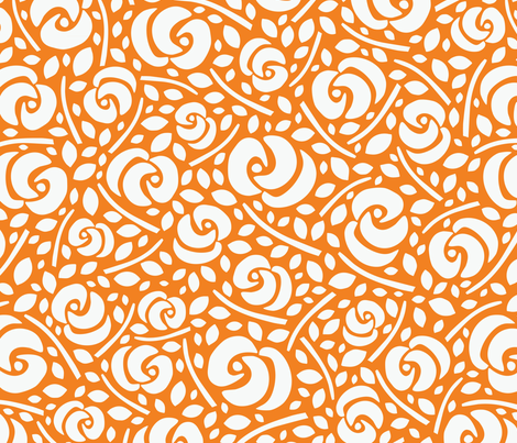 Cut Flowers, White on Orange fabric by gracedesign on Spoonflower - custom fabric