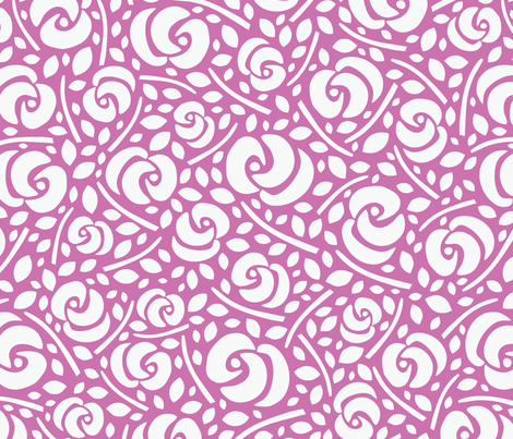 Cut Flowers, White on Pink (medium) fabric by gracedesign on Spoonflower - custom fabric