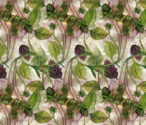 Green Strawberry Promise fabric by helenklebesadel on Spoonflower - custom fabric