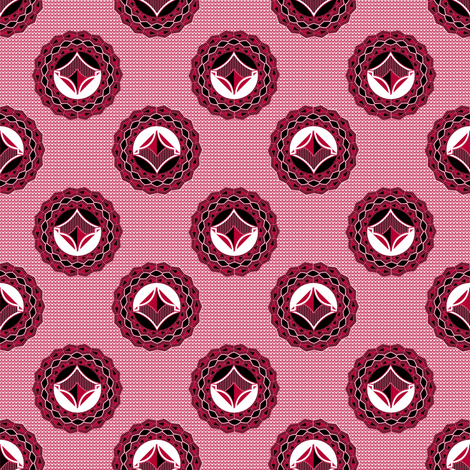 Admiral Medallions in red fabric by joanmclemore on Spoonflower - custom fabric