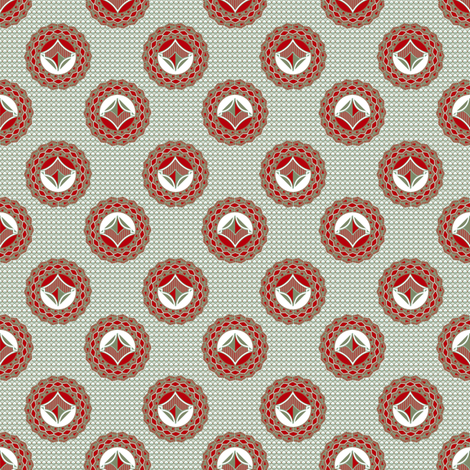 Admiral Medallions Gray and Red fabric by joanmclemore on Spoonflower - custom fabric