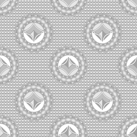 Admiral Medallion Silver  fabric by joanmclemore on Spoonflower - custom fabric