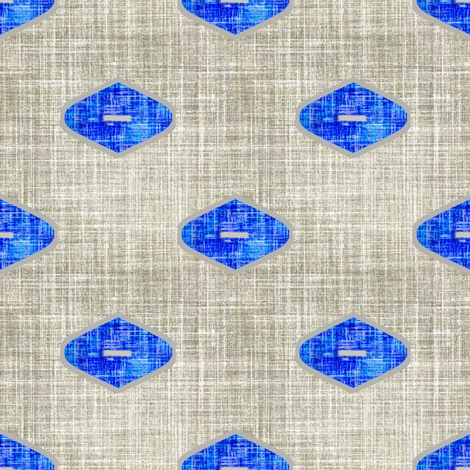 Grey linen Ogee in Cobalt fabric by joanmclemore on Spoonflower - custom fabric