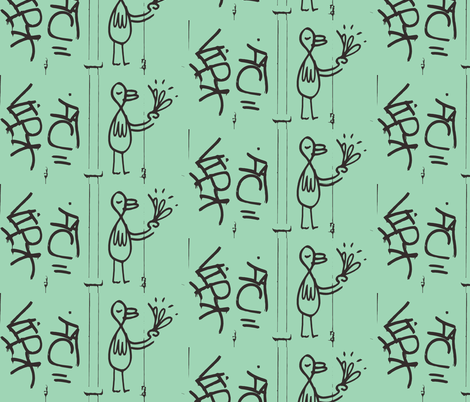Birds of a Feather in green fabric by susaninparis on Spoonflower - custom fabric