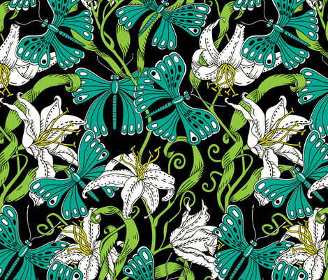 butterflies and lillies - botanical palette fabric by uzumakijo on Spoonflower - custom fabric