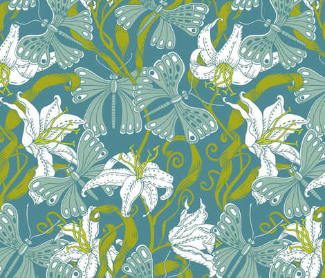 butterflies and lillies - soft spring fabric by uzumakijo on Spoonflower - custom fabric
