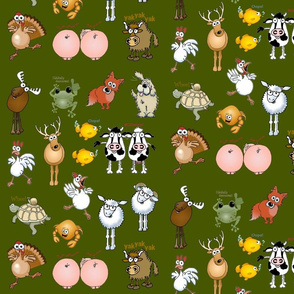 ANIMALS on dark green