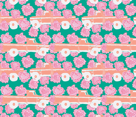 Pink Carnation and a Pick-up Truck (Green) fabric by fabricfarmer_by_jill_bull on Spoonflower - custom fabric