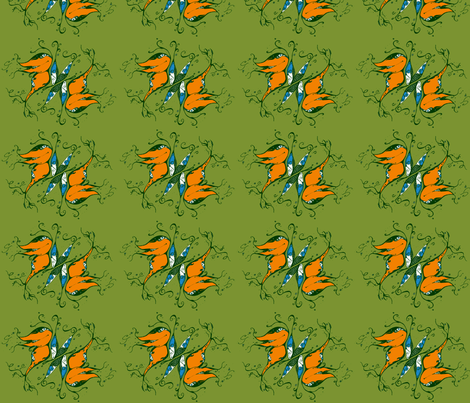 FANTASY-BUTTERFLIES-green fabric by garwooddesigns on Spoonflower - custom fabric