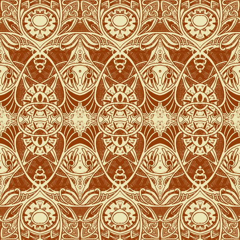 Victorian Gothic (rust and wheat) fabric by edsel2084 on Spoonflower - custom fabric