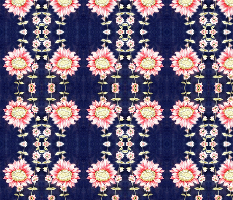50ies_vintage_dress_fabric_pink_flowers_on_bright_navy_background fabric by vinkeli on Spoonflower - custom fabric