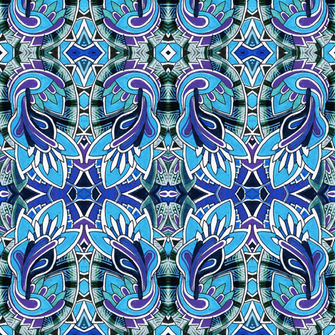 Blue Sprouts fabric by edsel2084 on Spoonflower - custom fabric