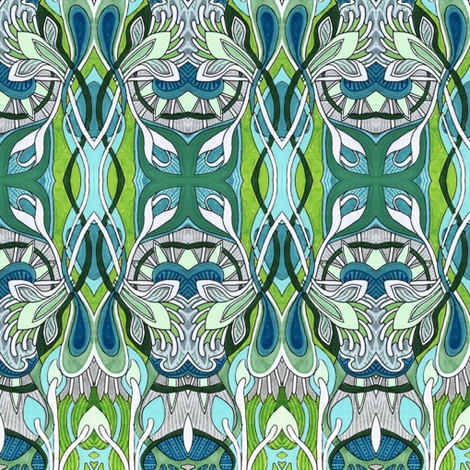 Teal Nouveau Buds fabric by edsel2084 on Spoonflower - custom fabric