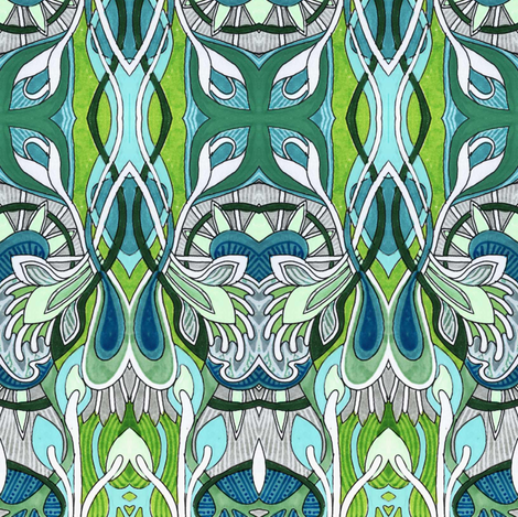 Contemplations on a bathroom wall fabric by edsel2084 on Spoonflower - custom fabric