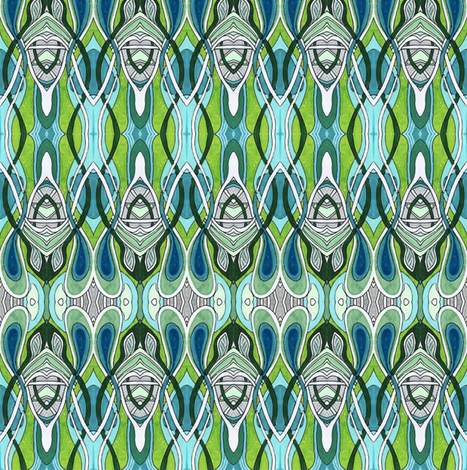 Nouveau waves fabric by edsel2084 on Spoonflower - custom fabric