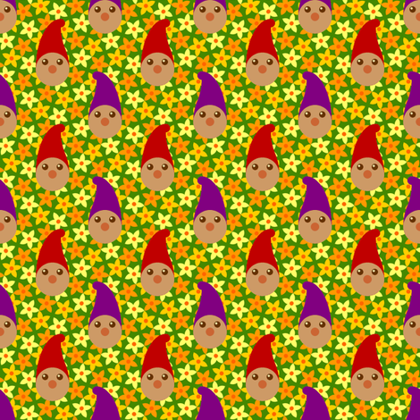 gnomes in the pumpkin patch fabric by sef on Spoonflower - custom fabric