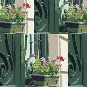 Geraniums in a Window Box - Paris in July