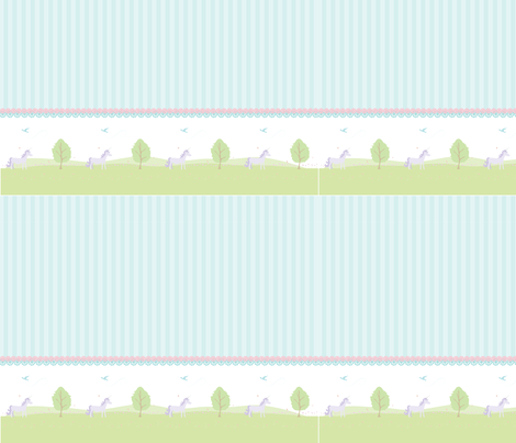 Unicorn Border with stripes-ed fabric by mainsail_studio on Spoonflower - custom fabric