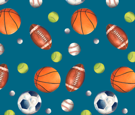 Play Ball! (color, blue background) fabric by twobloom on Spoonflower - custom fabric
