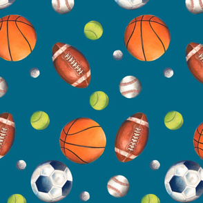 Play Ball! (color, blue background)