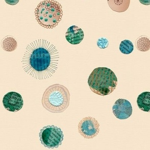 teal diatoms, circles pattern
