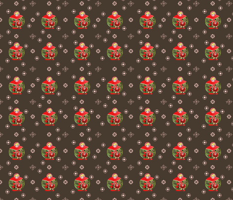 matrioschka_garden_choco_S fabric by nadja_petremand on Spoonflower - custom fabric
