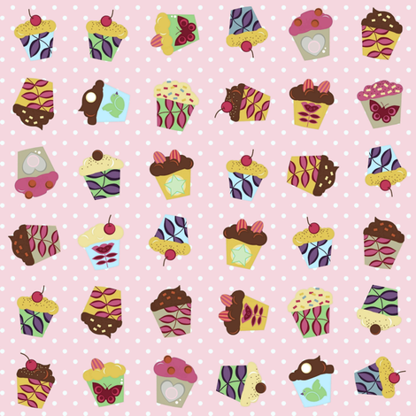 pink aime cupcakes fabric by scrummy on Spoonflower - custom fabric