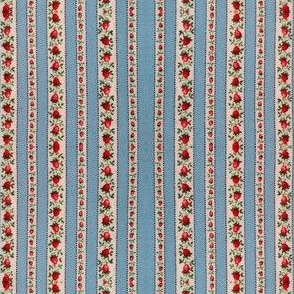 Blue_Striped_Strawberries_vintage_fabric_digitally_altered